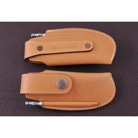Belt leather sheath tawny & sharpener for Capuchadou 12 cm