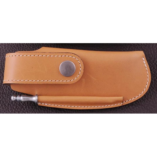 Belt leather sheath tawny & sharpener for Capuchadou 12 cm