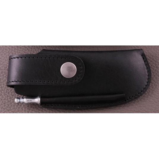 Belt leather sheath black & sharpener for Capuchadou 12 cm