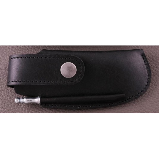 Etui de ceinture en cuir noir avec fusil spécial Capuchadou 12 cm