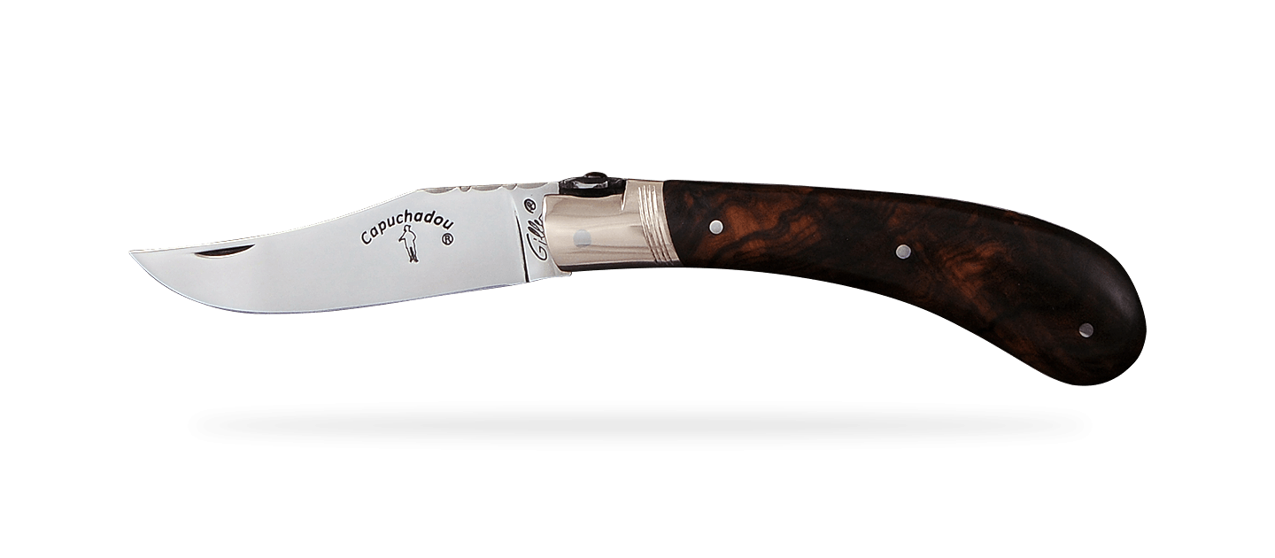 """""""Le Capuchadou®-Guilloché"""" 10 cm hand made knife, Ironwood"""