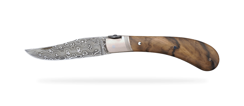 """Le Capuchadou®-Guilloché"" 10 cm hand made knife, walnut & Damascus"