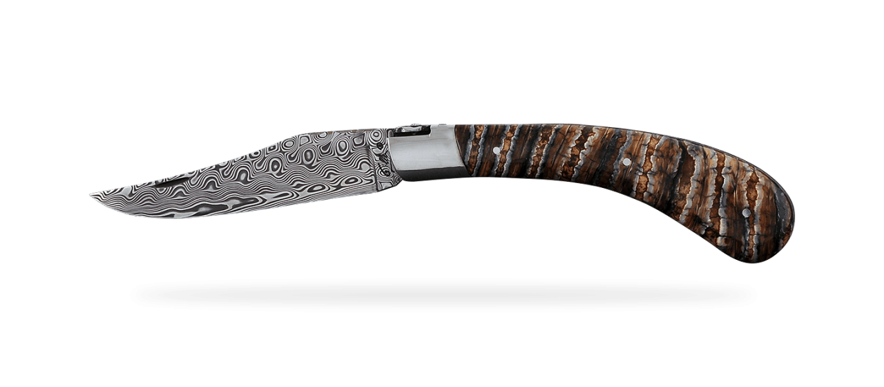 """""""Le Capuchadou®-Guilloché"""" 12 cm hand made knife, Molar tooth of mammoth & Damascus, delicate filework"""